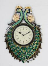Handicraft India wooden peacock style traditional wall clock handmade - 101
