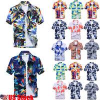 US Men's Hawaiian T Shirt Summer Holiday Floral Beach Short Sleeve Tops Blouse