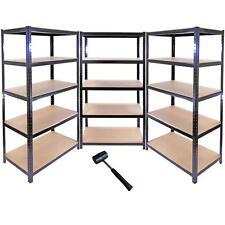 3 x 90cm Black Shed / Utility / Greenhouse Storage Racks Bays / Garage Shelving