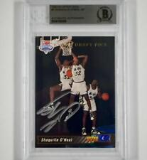 SHAQUILLE O'NEAL Signed 1992-93 Upper Deck #1 Draft RC Rookie Card BGS BAS Auto