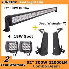 """Upper&Lower Bracket for Jeep Wrangler TJ 52"""" 300W LED Light Bar+ 18W Spot Lights"""