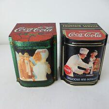THE TIN BOX COMPANY - 1996 COCA-COLA  - RARE - Two Retro Style Flip Lid Tins