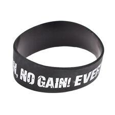 No Pain No Gain Mood Silicone Bracelet Black Rubber Wristband Cuff Bangle Unisex