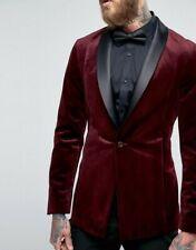 Burgundy Men Velvet Suit Blazer Tuxedo Shawl Lapel Dinner Party Prom Suit