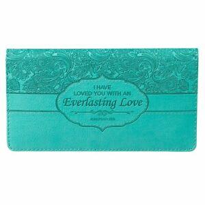 Checkbook Cover for Women & Men ?Everlasting Love? Christian Turquoise Wallet,