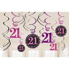12 Happy 21st Birthday Hanging Swirls + Cutouts Pink Black Party Decorations