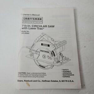 Craftsman 7 1/4 In Circular Saw W Lazer Trac 320.28060 Owners Manual