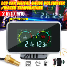2 in1 LCD Digital Gauge Voltage Pressure/Water Temp Meter w/ Alarm M10 Universal