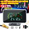 2 in1 LCD Digital Gauge Voltage Pressure/Water Temp Meter w/ Alarm M10 Universal