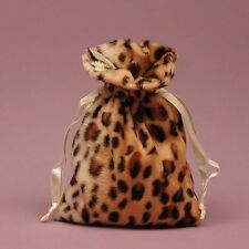 "NEW Jaguar Print 5"" x 8"" Animal Faux Fur Drawstring Bag Pouch"