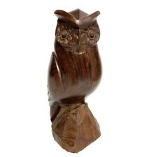 """Owl Sculpture Hand Carved 7.5"""" Wooden Home Decor Item Handcrafted R1"""