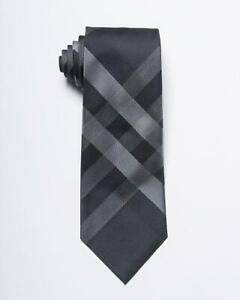 "Burberry $190 Black Gray Tonal Check 100% Silk Classic Cut Tie 3.25"" 8 cm"