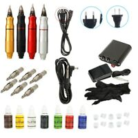 Complete Tattoo Kit Motor Pen Machine Gun Liner Shader Inks Power Supply Needles