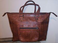 Handmade Fair Trade Tan Goat Real Leather Shopper Tote Bag Zipped Pockets Boho