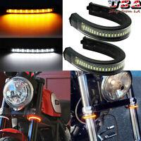 Switchback Fork White/Amber LED Turn Signal Light DRL Strip For Harley Davidson