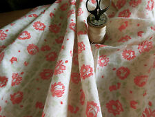 Antique French Faded Cottage Roses Cotton Fabric ~ Coral Pale Green~dolls quilts