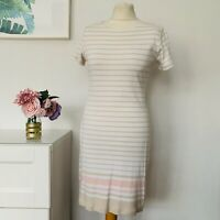 HENRI LLOYD Dress Size Large CREAM | Striped Cotton CASUAL Work Party Holiday