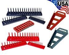 Hansen 9pc 1/4 3/8 1/2 SAE Metric Socket Tray Set Organizer w Wrench Racks USA