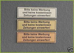 """Metall Hinweisschild,Briefkastenschild """"Bitte keine Werbung & Zeitung einwerfen"""""""