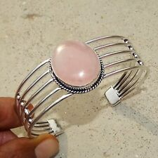 925 Sterling Silver Plated Rose Quartz Bangle Cuff Bracelet Jewelry JAN7