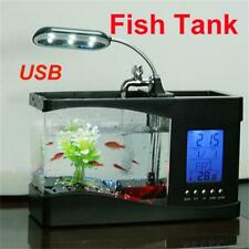 Black Calendar Clock Mini Fish Tan LED Light USB Desktop Aquarium 1.5 Quart