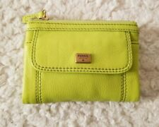 Fossil Emma Emory Multi Clutch Leather Snap Wallet Organizer Lime Gold-tone NWT