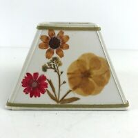 """Small Square 4"""" Clip On Lamp Shade w/ Pressed Dried Flowers Mid Century MCM"""