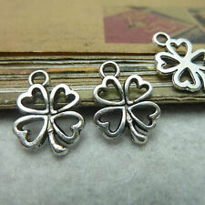 30pc Tibetan Silver Heart Lucky Clover Pendant Charms Beads Jewellery CraftGP089