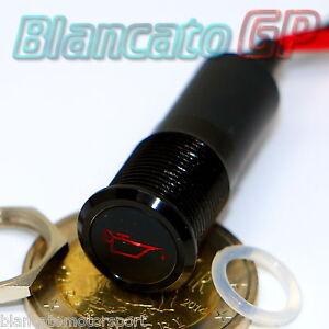 SPIA LED 12mm CON SIMBOLO OLIO ROSSO 12V ALLUMINIO NERO car indicator light lamp