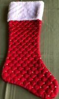 Christmas Stocking, Red Satin with Sequence, White Top Trim