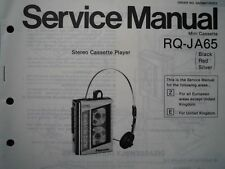PANASONIC RQ-JA65 Stereo Cassette tape Player Service manual wiring part diagram