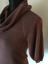 BCBG Maxazria Light Plum Cowl Neck Knit Top Sweater Lace Back XS