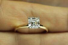 Engagement Wedding Ring Asscher Cut Solitaire 0.50 Carat Solid 14kt Yellow Gold