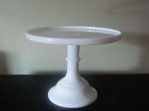 "MOSSER MILK WHITE GLASS CAKE PASTRY STAND 9 1/4"""
