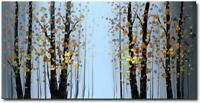 Hand Painted Abstract Landscape Painting Trees Canvas Wall Art Framed Home Decor