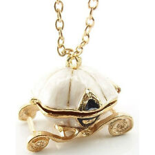 Golden Fairy Tale Cinderella Pumpkin Carriage Locket Pendant Chain Necklace New
