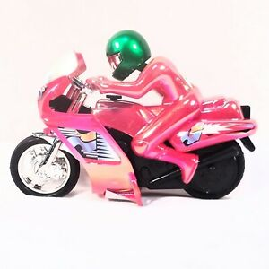 Motorcycle Power Cycle Action Figure Friction Power Toy Red Green Helmet #8 New