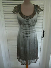 KAREN MILLEN RARE PEWTER SILK ORGANZA & BRONZE BUGLE BEAD DRESS 10. BRAND NEW