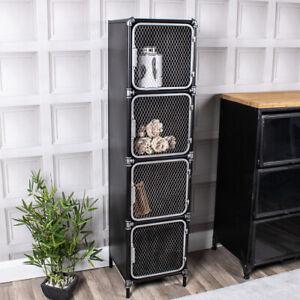 Industrial Black Storage Cabinet Free Standing Metal Mesh Tallboy Unit 4 Shelf