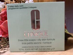 Clinique 3 Little Soaps OILY SKIN FORMULA Skin Type 3,4 Brand New in Box