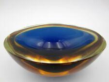 Poli Seguso rare oval geode bowl glow green turquoise Sommerso murano art glass