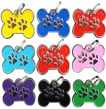 Engraved Pet ID Tags DOG Bone Shape Paw Insert Discs Disks Puppy Tally FREE Post