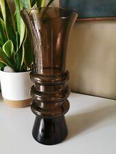 MID CENTURY 50s DESIGN COFFEE GLASS RIDGED VASE