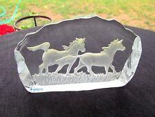 NYBRO HANDMADE SWEDISH ART GLASS VINTAGE PAPERWEIGHT  2 HORSES RUNNING
