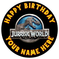 """JURASSIC WORLD LOGO PARTY - 7.5"""" PERSONALISED ROUND EDIBLE ICING CAKE TOPPER"""
