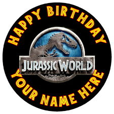"""Jurassic del logotipo de partido - 7.5 """"Personalizadas Ronda Comestibles Glaseado Cake Topper"""