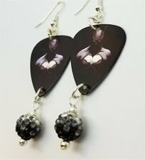 Batman Guitar Pick Earrings with Black to White Ombre Pave Bead Dangles