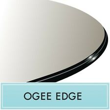 """28"""" Inch Round Clear Tempered Glass Table Top Replacement 1/2"""" thick - Ogee edge"""
