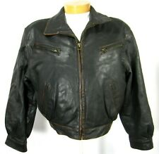 LEGEND LONDON Men's Long Sleeve Full Zip JACKET Sz M Black Collared Leather PPD
