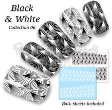 Art Deco Pattern Nail Decals Water Stickers Black & White Nail Art Nails B300